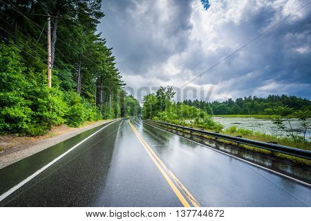 The Londonderry Turnpike And Massabesic Lake After A Summer Thunderstorm, In Manchester, New Hampshi