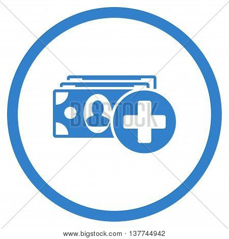 Medical Expences vector icon. Style is flat circled symbol, cobalt color, rounded angles, white background.