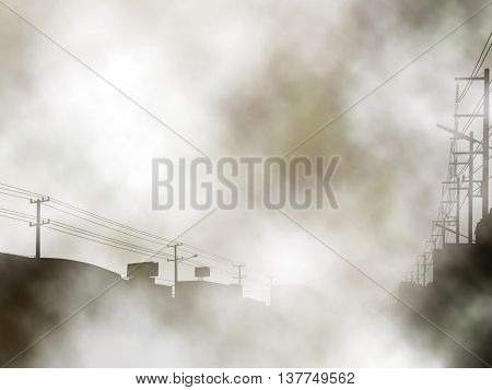 Editable vector illustration of a foggy urban street created using gradient meshes