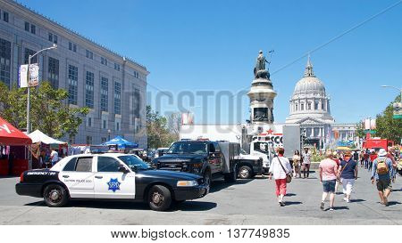 San Francisco CA - June 25 2016: Unidentified participants celebrates at the 46th annual San Francisco Gay Pride Festival held at Civic Center in downtown San Francisco. Hightened security with bomb squad and K-9 units on standby.