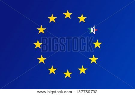 Flag Of European Union With A Broken Star Of Italy