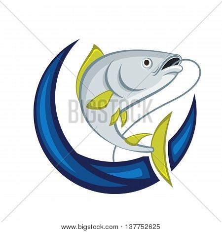 Catching fish vector emblem on a white background.