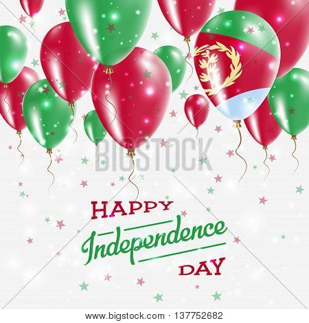 Eritrea Vector Patriotic Poster. Independence Day Placard With Bright Colorful Balloons Of Country N