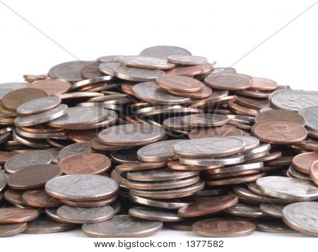 Mountain Of Us Coins Of Various Denominations