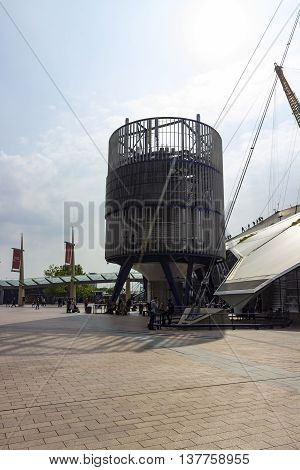 London England - May 27 2016: A view of the O2 Arena structure in the North Greenwich Peninsula in London England.