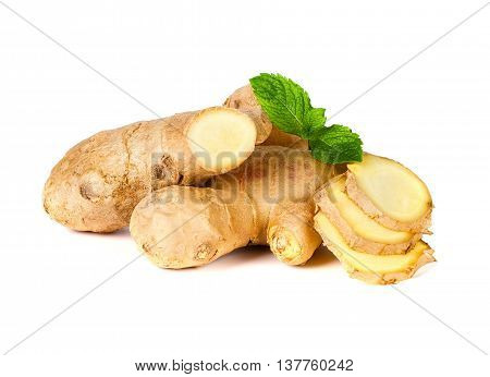 fresh ginger isolate on the white background
