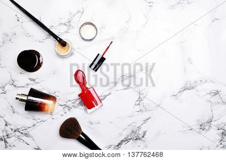 Flat lay. Accessories on the marble table. Mockup product . Woman desktop