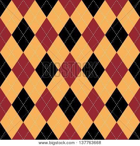 Seamless argyle pattern in dark red, soft orange & black with white stitch.