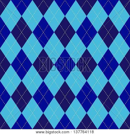 Seamless argyle pattern in navy blue & dark midnight blue on soft cyan field with white stitch.
