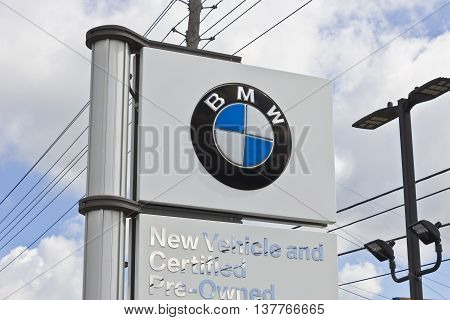 Lafayette, IN - Circa July 2016: A Local BMW Dealership. BMW is a Luxury Car Manufacturer Based in Germany I