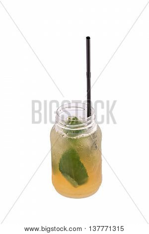 vodka and lime and vodka cocktail on white background