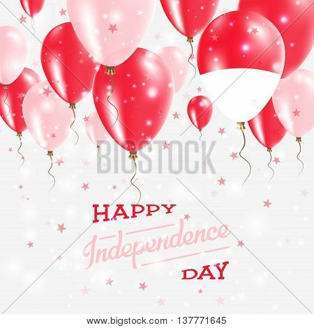 Monaco Vector Patriotic Poster. Independence Day Placard With Bright Colorful Balloons Of Country Na