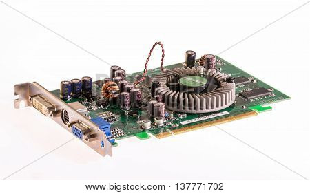 old generation graphic card on white background technology out of date