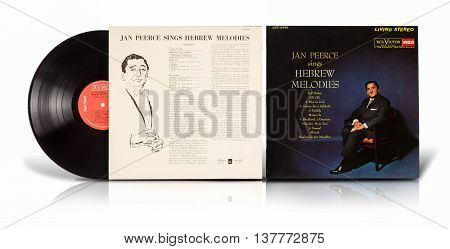 Rishon Le Zion, Israel - July 7, 2016:  Old vinyl album Jan Peerce Sings Hebrew Melodies. Record compilation of Jewish songs in Hebrew and Yiddish