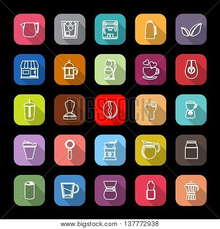 Coffee and tea line icons with long shadow stock vector
