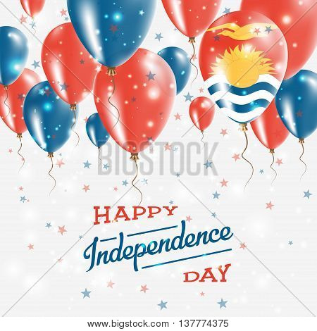Kiribati Vector Patriotic Poster. Independence Day Placard With Bright Colorful Balloons Of Country