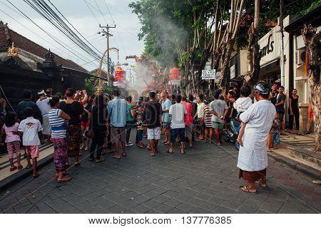 Visitors Watch The Ogoh-ogoh Statues At The Parade, Kuta, Bali