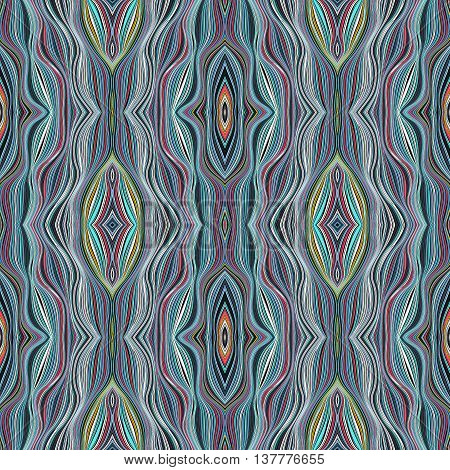 Regular seamless weaving pattern in boho style. Vector background from interwoven multicolored strips  with folk motifs. Motley abstract  texture