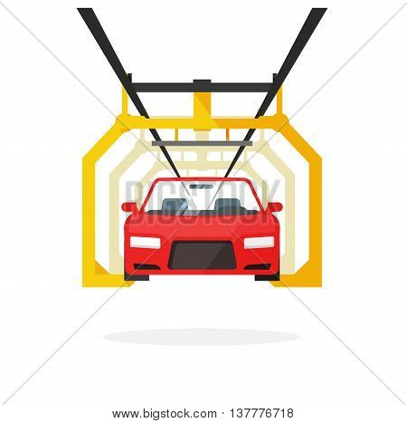 Car production line vector illustration auto maintenance process, automobile manufacturing, emergency service, product release technology industry, repairs template, robot machinery industry design.