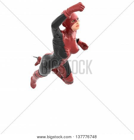 one tall woman in red black super suit. Flying in up in front of camera her raised right hand. 3D rendering, 3D illustration