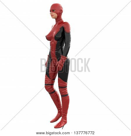 one tall woman in red black super suit. Woman stands sideways to camera. Looking to side. 3D rendering, 3D illustration