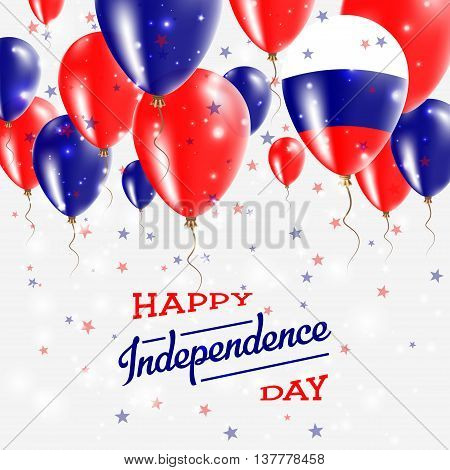 Russian Federation Vector Patriotic Poster. Independence Day Placard With Bright Colorful Balloons O
