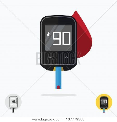 Home glucometer diabetes flat pharmacy concept, medical measuring portable technology analysis hypoglycemic glycemic, glucose test tool isolated white background modern design vector illustration