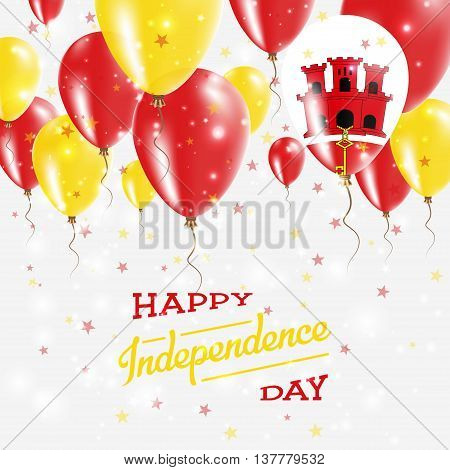 Gibraltar Vector Patriotic Poster. Independence Day Placard With Bright Colorful Balloons Of Country