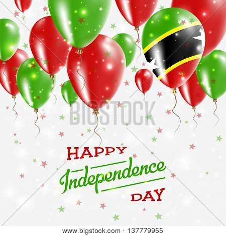 Saint Kitts And Nevis Vector Patriotic Poster. Independence Day Placard With Bright Colorful Balloon