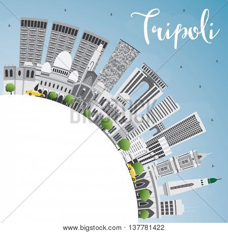 Tripoli Skyline with Gray Buildings, Blue Sky and Copy Space. Business Travel and Tourism Concept with Historic Buildings. Image for Presentation Banner Placard and Web.