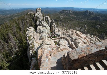 Stone staircase leading down from Harney Peak Fire Lookout Tower in the Custer State Parks Black Elk Wilderness in the Black Hills of South Dakota