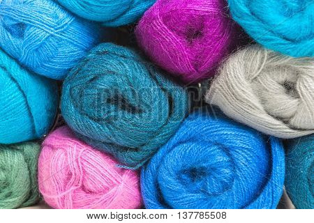 Colorful Wool Skeins Of Thread, Industrial Production Close-up