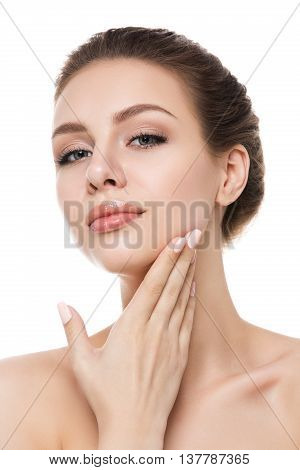 Portrait of young beautiful caucasian woman touching her face isolated over white background. Cleaning face perfect healthy skin. SPA therapy skincare cosmetology and plastic surgery concept
