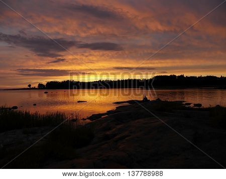 Scenic view of a swedish east coast in sunset