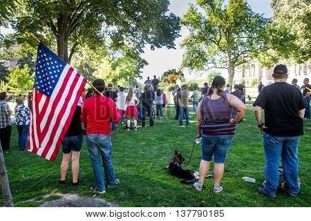 Boise, Idaho/usa - July 1, 2016: Man Showing His Support And Patriotism For The Second Amendement Of