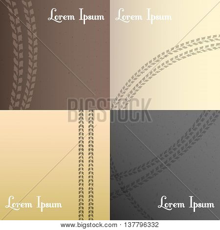 Vector tire tracks background set, four color style