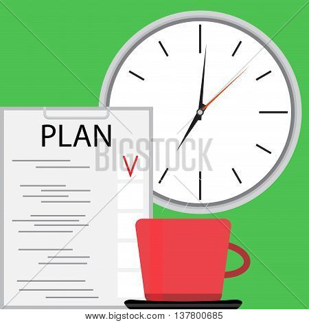 Planning with coffee. Plane and strategy business plan project planning process. Vector illustration