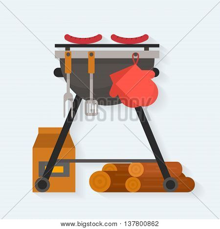 Barbecue. Sausages on grill with tools and firewood. Flat style vector illustration. poster