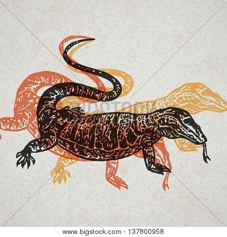 Desert Varan sign. Desert Varan. Vector engraved Illustration. Linocut Varan Isolated on old paper