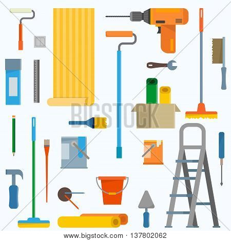 Room repair in home icons. Interior renovation in apartment and house. Flat style vector illustration.