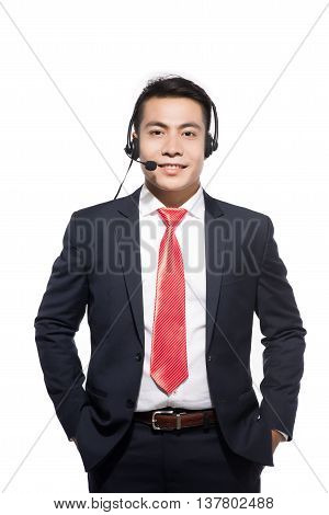 A Customer service representative wearing a headset