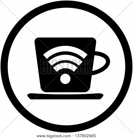 Cup of coffee with symbol wifi. Wireless and free wifi internet wifi symbol vector wifi zone connect illustration wifi signal