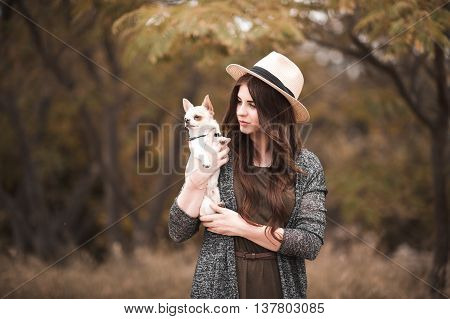 Stylish girl 20-24 year old holding chihuahua pet outdoors. Togetherness.