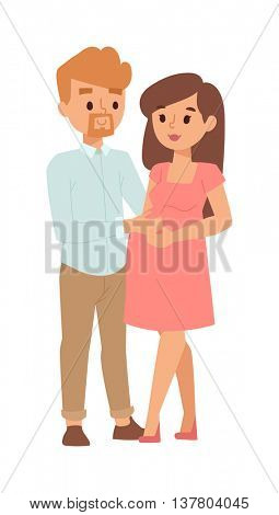 Young pregnant woman family vector