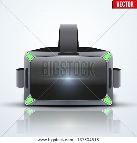 Original stereoscopic 3d vr headset with sensors. White model. Front view. Vector illustration Isolated on white background.