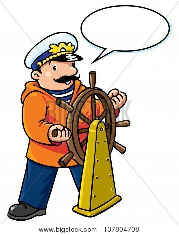 Children vector illustration of funny captain or sailor, or yachtsman in coat, at the helm. Profession series. With balloon for text