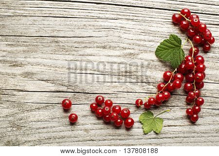Red currant berries on a wooden table