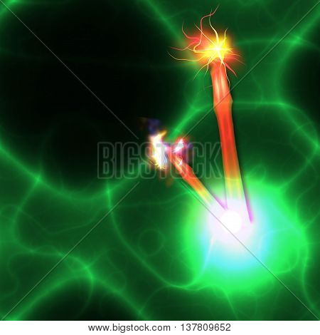 Abstract green and black background with blurred lines and red flashes. Electrifying dynamic background with red rays and green electrical discharge