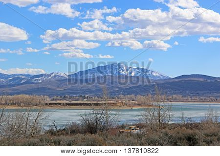 Wasatch front mountains and Pineview Reservoir, Utah