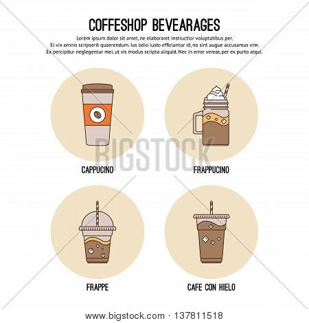 Vector design template with thin line icons of list coffee drinks. Flat design graphic.
